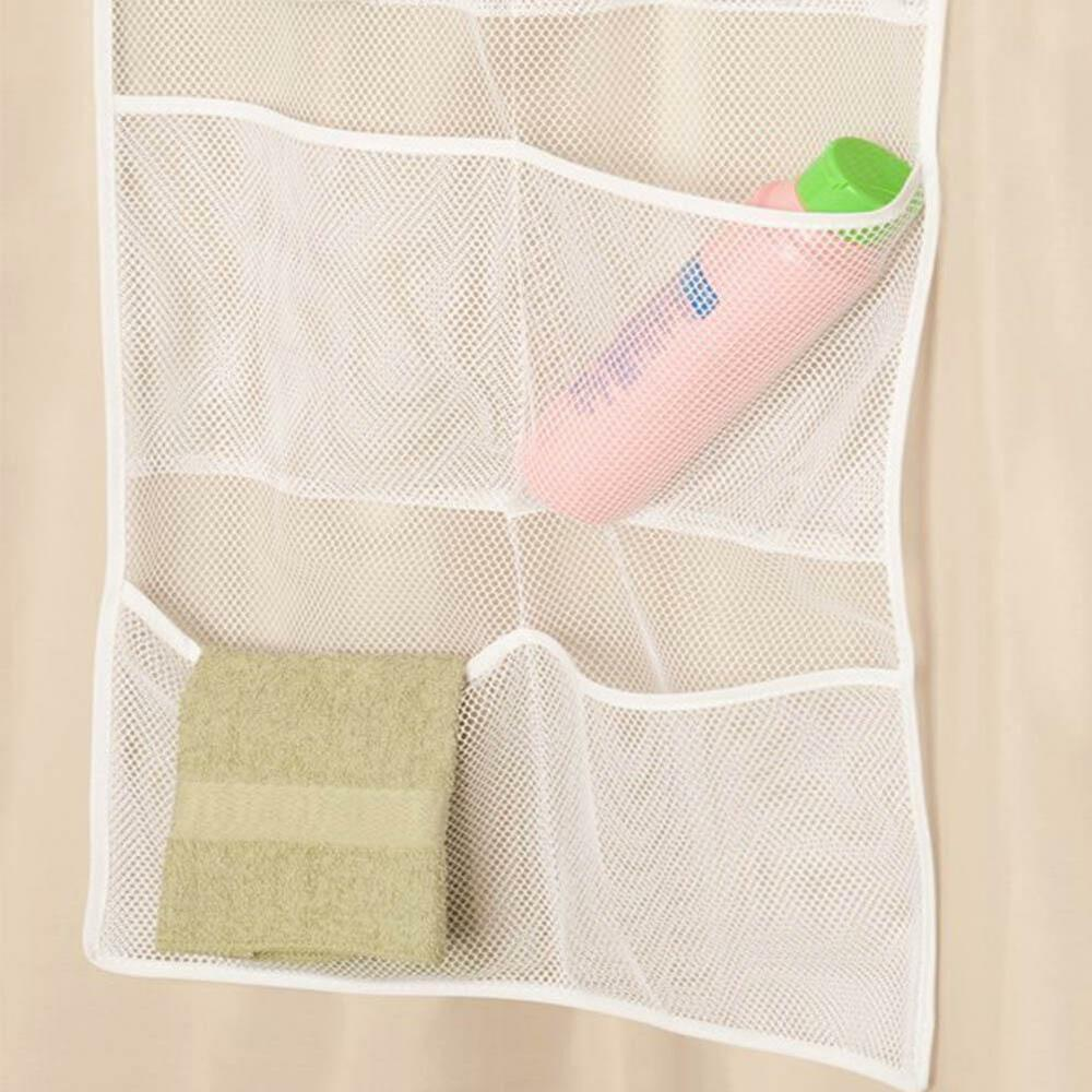 Bathroom shower tub toilet door hanging storage mesh bag for Bath storage net