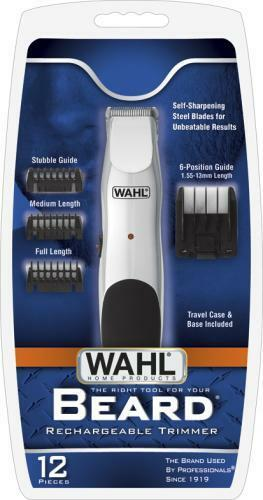 new wahl 9916 1008 beard rechargeable trimmer clipper with 3 heads set ebay. Black Bedroom Furniture Sets. Home Design Ideas