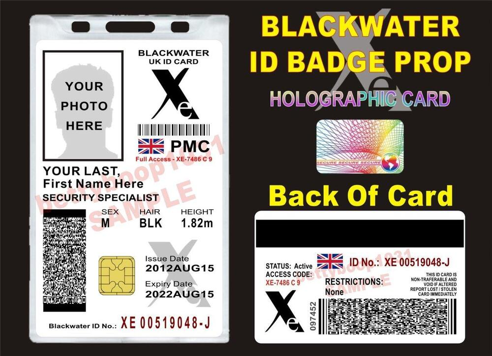 blackwater xe uk id card prop custom w your photo info cac private military ebay. Black Bedroom Furniture Sets. Home Design Ideas