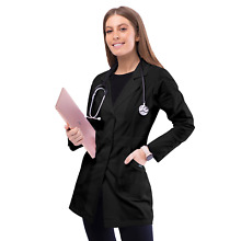 Adar Women Lapel Collar Multi Pocket Buttoned Medical Lab Consultation Coat