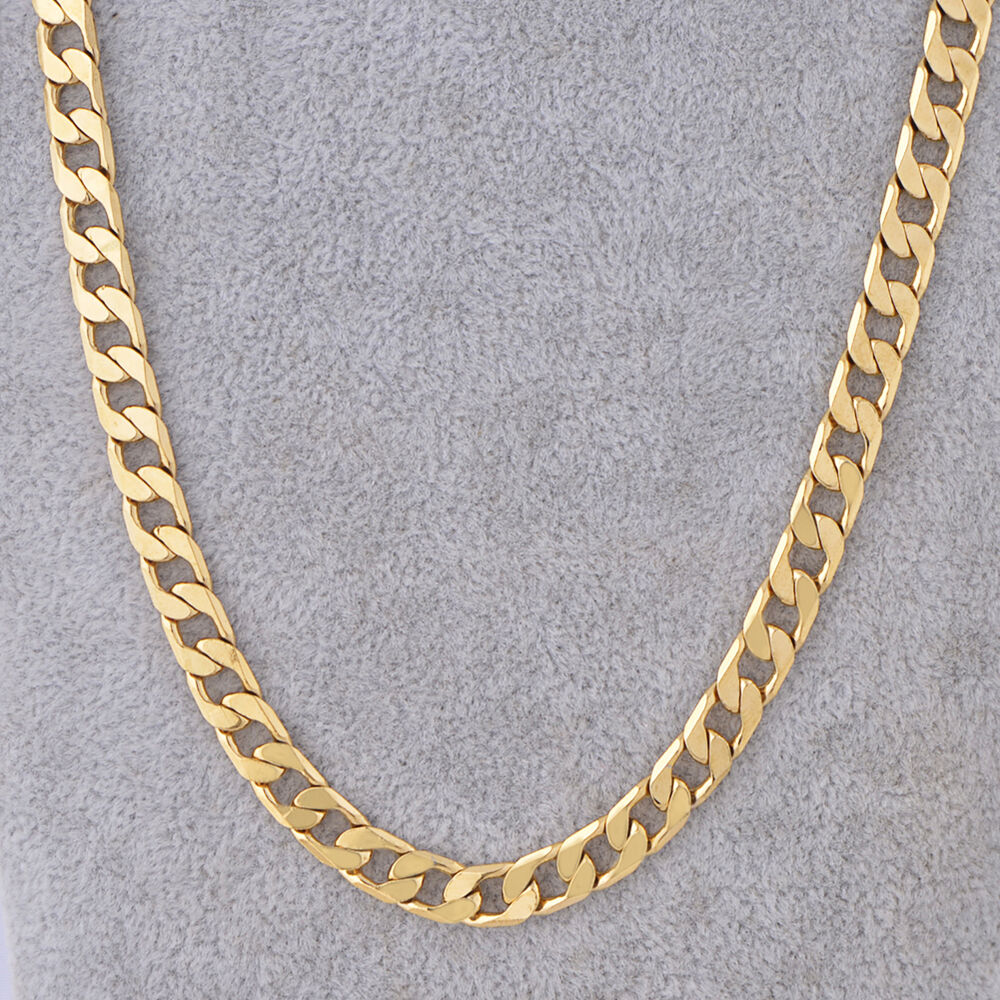 18k Yellow Gold Filled Link Cuban Chain Necklace 24 Quot 7mm
