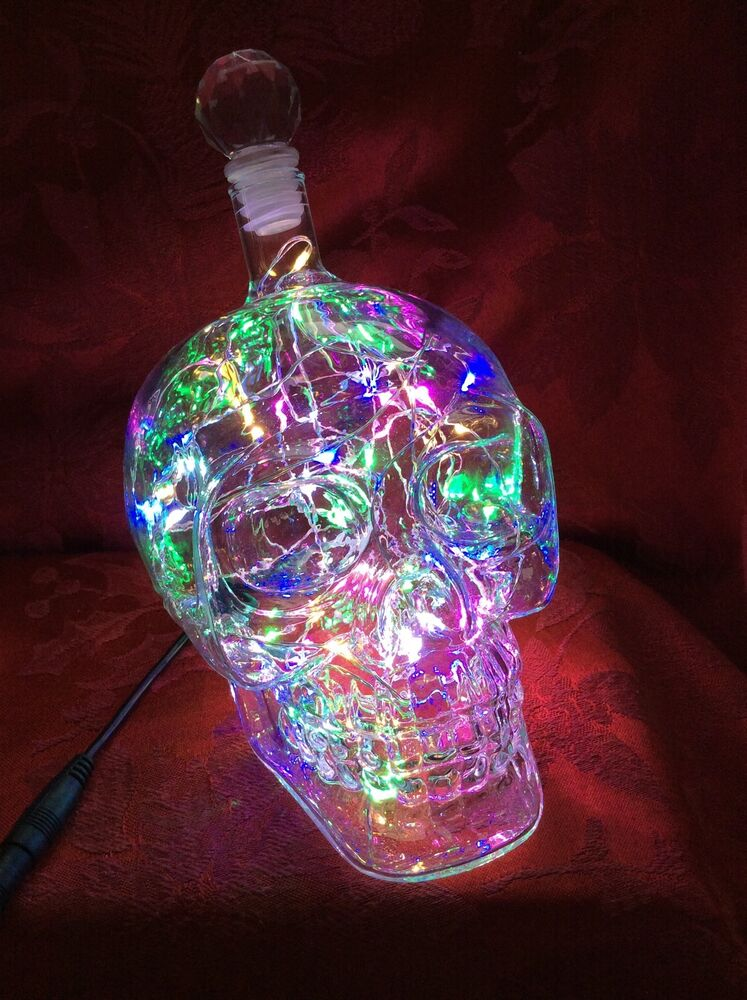 new bling electric lamp 550ml skull head crystal bottle decanter colored leds ebay. Black Bedroom Furniture Sets. Home Design Ideas