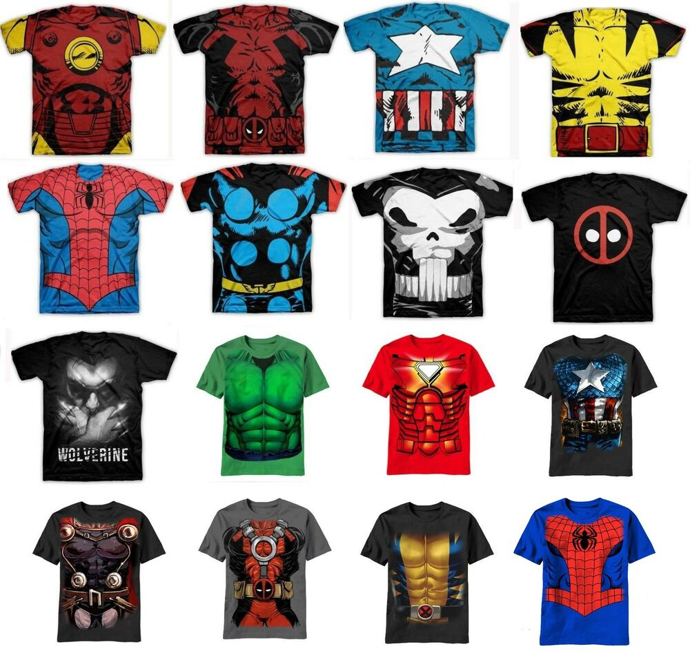 Authentic marvel comic adult t shirt costume ebay for Comic t shirts online