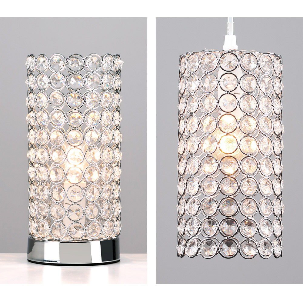 Matching Chrome & Acrylic Crystal Jewel Touch Table Lamp