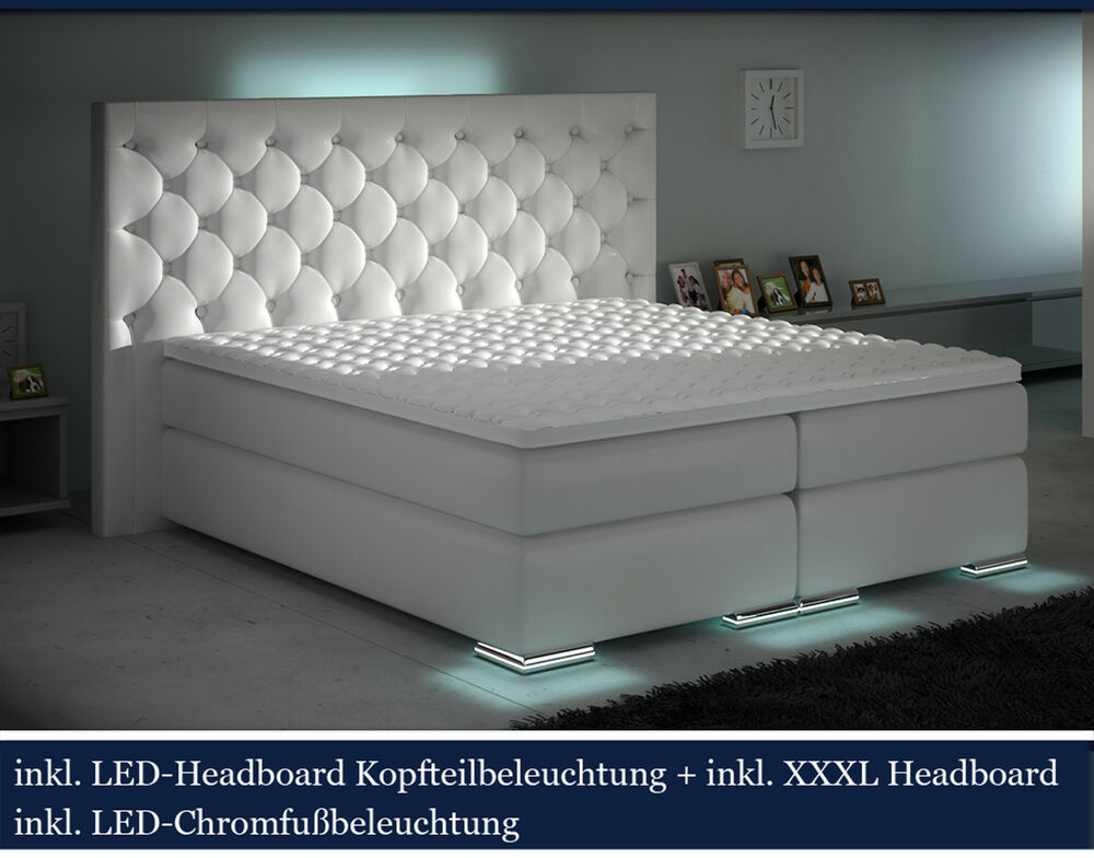 xxxl boxspringbett designer boxspring weiss led 200x200 chesterfield ebay. Black Bedroom Furniture Sets. Home Design Ideas