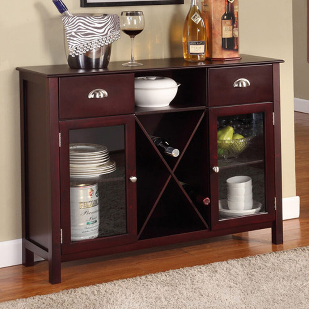 Buffet cabinet hutch dining kitchen server furniture wine for Dining cabinet furniture