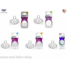 Philips Avent Teat Colic Airflex Silicone Nipple Natural Style Feeding Bottle x2