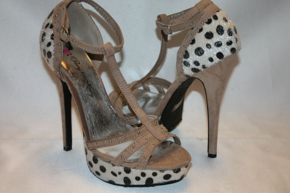 8ecf14570e1 NEW! Penny Loves Kenny Beige Suede Spotted Pony Hair Platform Heels ...