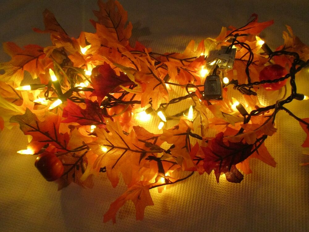 Fall Color String Lights : Fall Thanksgiving Maple Leaf LIGHTED Garland String Lights Decoration Decor 6FT eBay