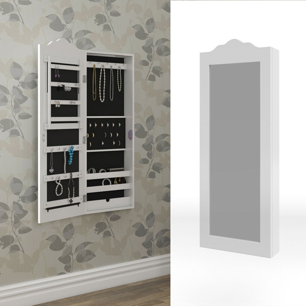 armoire glace armoire bijoux miroir mural blanc mur. Black Bedroom Furniture Sets. Home Design Ideas