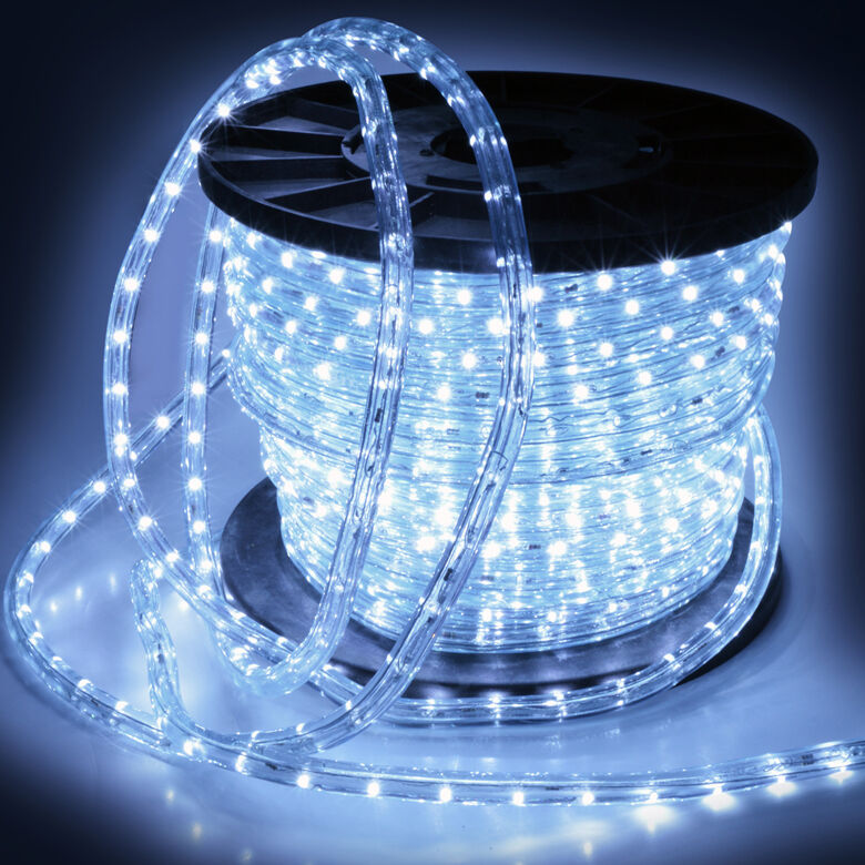 150 2 Wire Cool White LED Rope Light In/Outdoor Home 110V Lighting 1/2