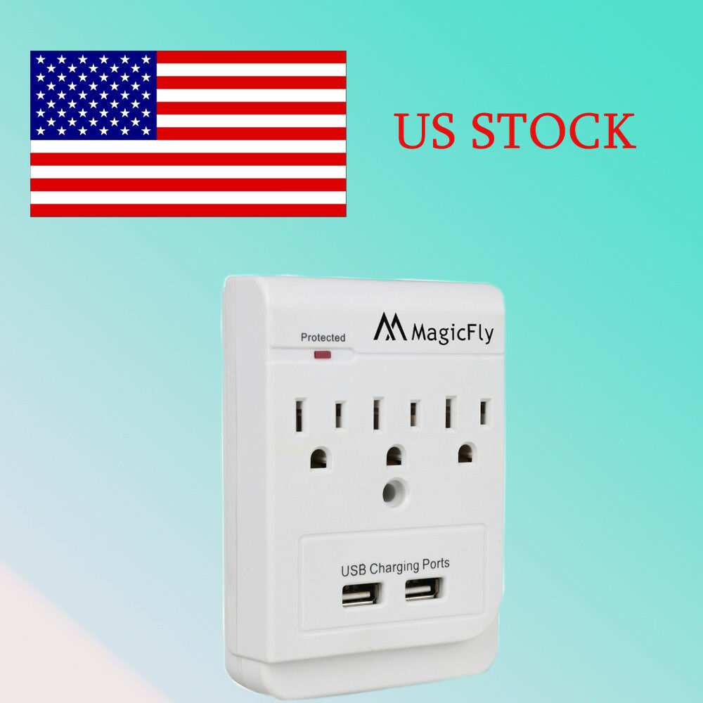 3 ac outlet wall mount surge protector with 2 dual usb charging ports us plug ebay. Black Bedroom Furniture Sets. Home Design Ideas