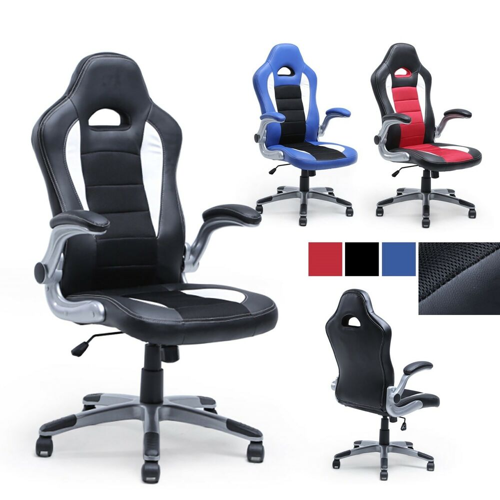 office racing chair bucket seat high back ergonomic gaming computer flip armrest ebay. Black Bedroom Furniture Sets. Home Design Ideas