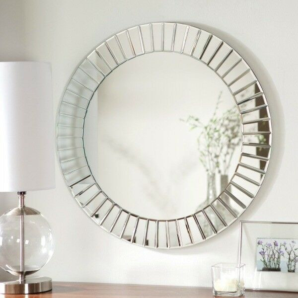 Decorative wall mirrors large round bathroom mirror modern for Large silver decorative mirrors