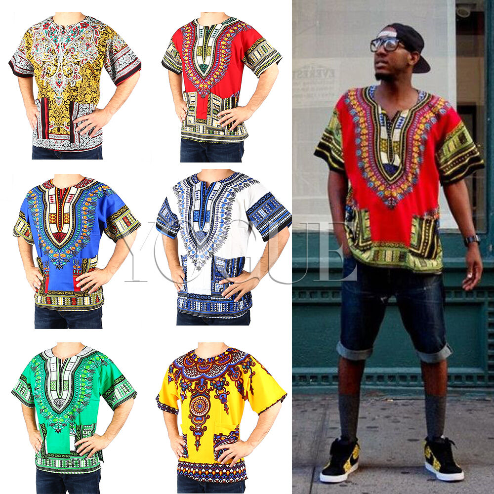 Men's Women's African Dashiki Shirts Dress Boho Hippie