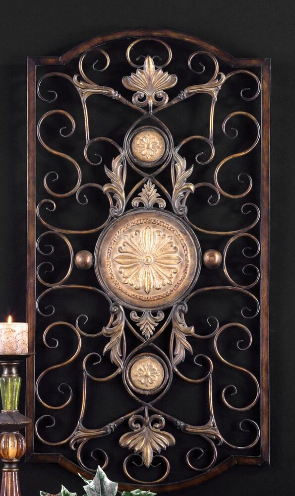 LARGE TUSCAN DECOR SCROLL WROUGHT IRON METAL WALL GRILLE