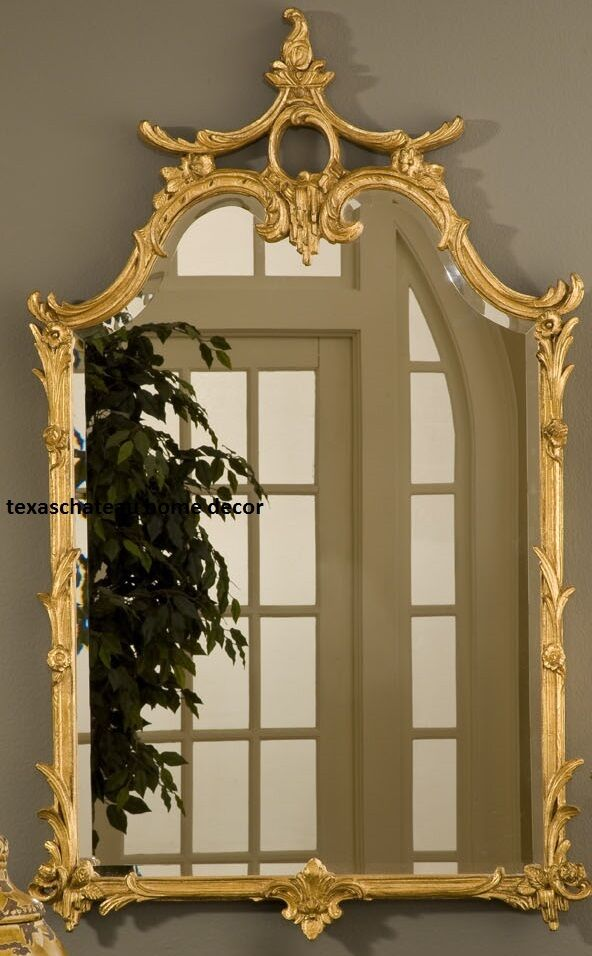 Large ornate gold wall mirror antique french chinoiserie for Antique style wall mirror