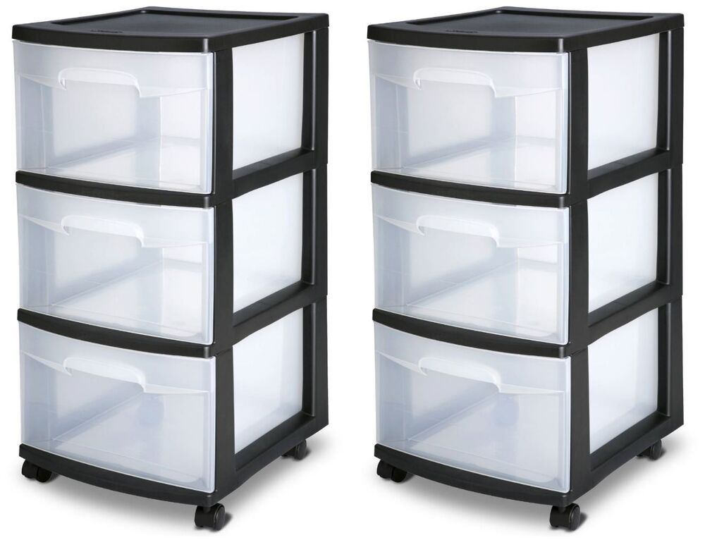 plastic drawer organizer 3 drawer plastic rolling cart storage box sterilite 28910