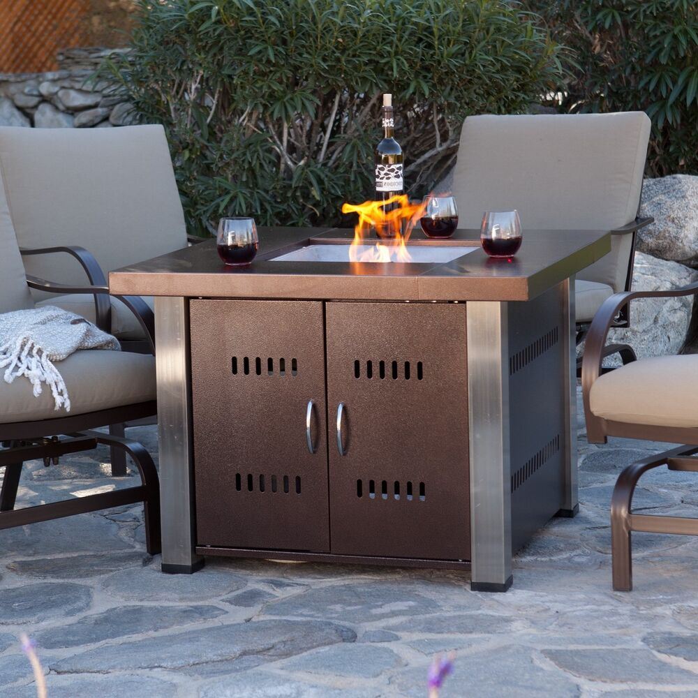 Fire Pit Table Fireplace Outdoor Furniture Patio LP Gas ... on Outdoor Gas Fireplace For Deck id=31003