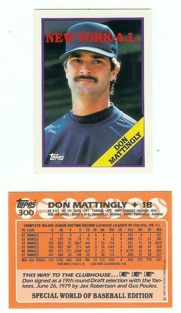 1988 Topps 300 Don Mattingly Promotional Card That Was