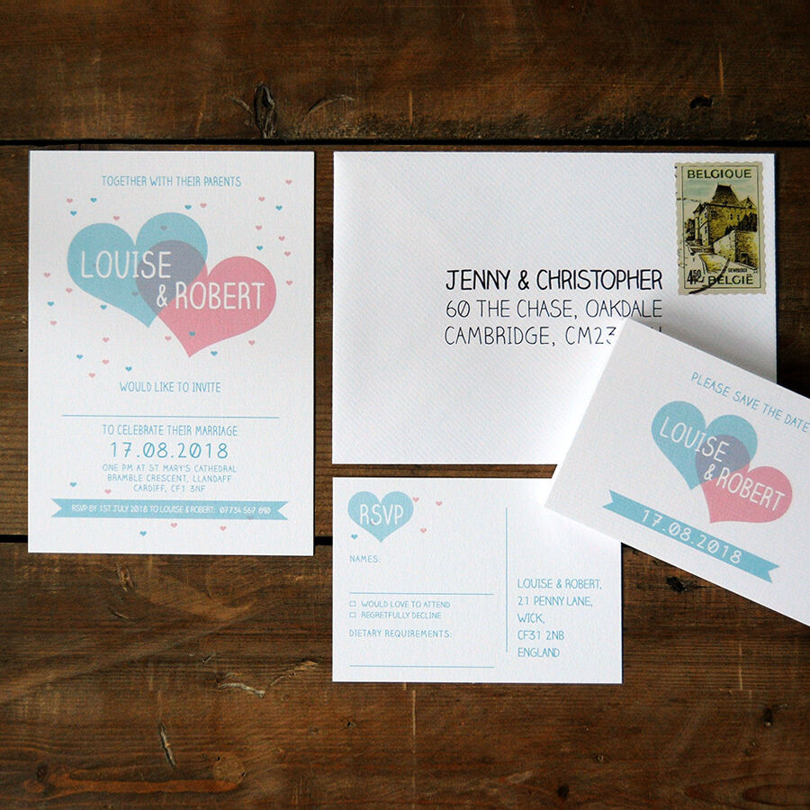 Two Become One Wedding Invitation - Day Evening RSVP Save the Date ...