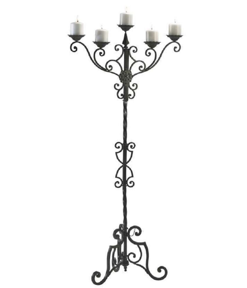 Iron Candle Stand Designs : Rialto floor candelabra iron scrolls candle holder quot h