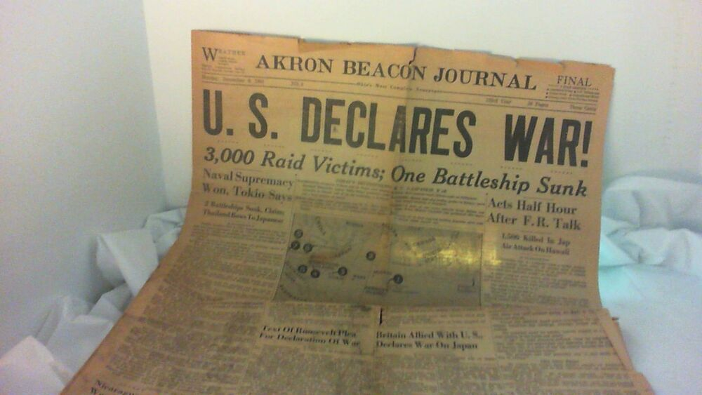 Dec 8, 1941 WAR declared & May 7, 1945 War over Newspapers ...