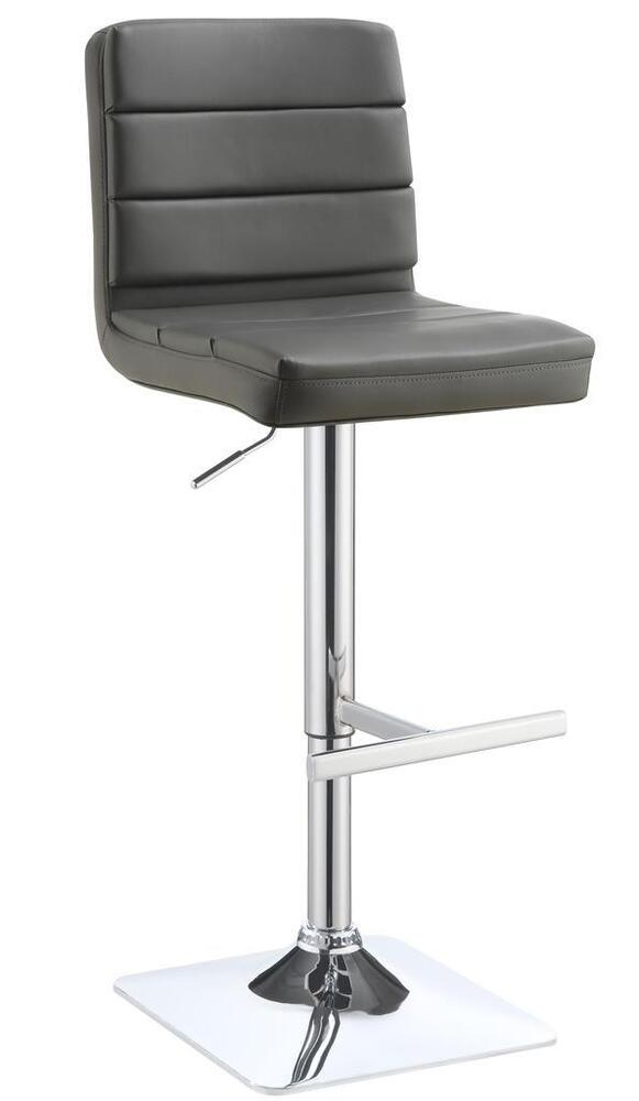 Contemporary Adjustable Grey Upholstered Bar Stool By