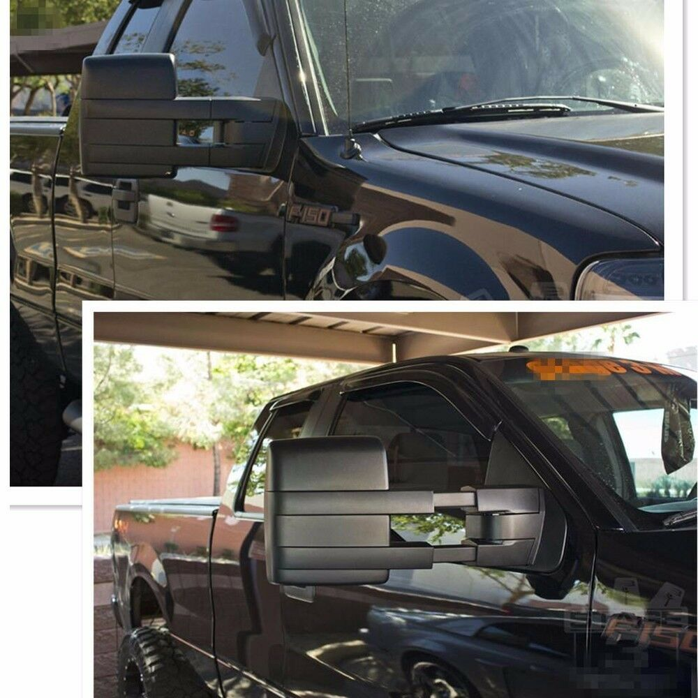 for 2007 2014 ford f150 pickup towing power heated tow mirrors set signal puddle ebay. Black Bedroom Furniture Sets. Home Design Ideas