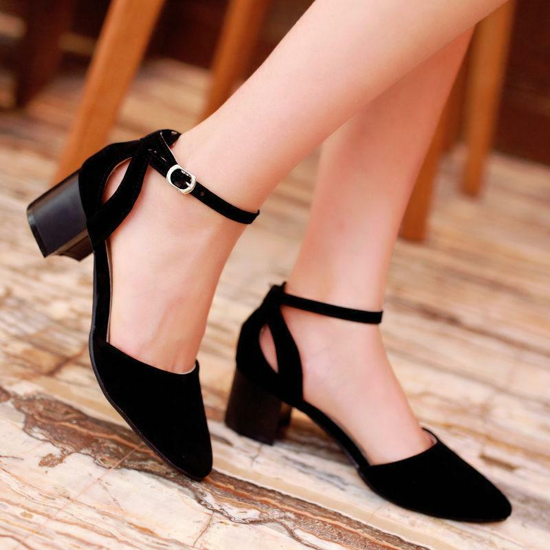 1cd7cb3c9e02 Details about New Women Pumps Ankle Strap Mid Heel Buckle Chunky Pointed  toe Ladies Shoe UK Sz