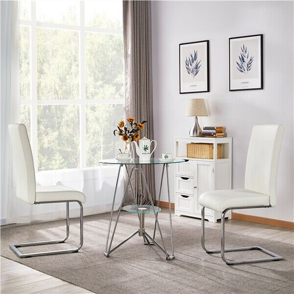 2 x faux leather dining room chair modern high back chrome for Modern high back dining chairs
