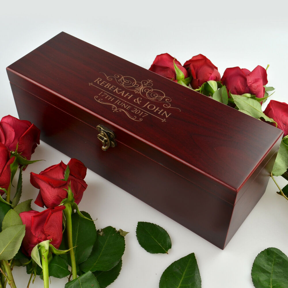 Custom Engraved Stained Wooden Wine Box For Wedding