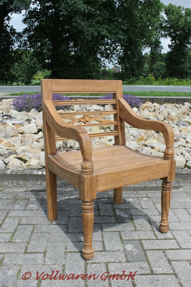 teak gartenstuhl solis teakholz antik massiv armlehnstuhl stuhl sessel ebay. Black Bedroom Furniture Sets. Home Design Ideas