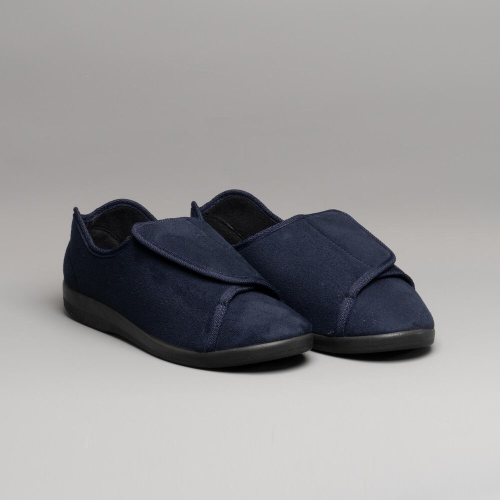 d5baee4eb72 GBS Med WALTON Unisex Men Ladies Touch Fasten Medical Wide Fitting Slippers  Navy