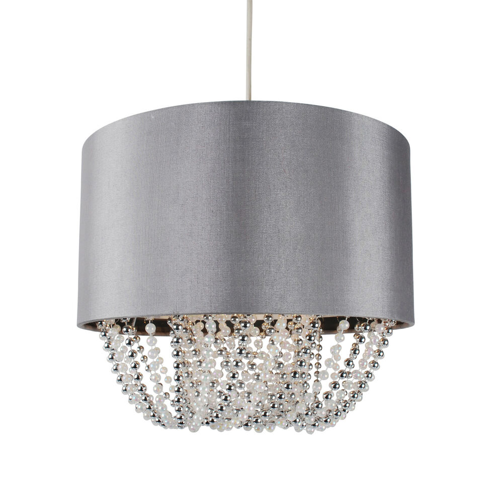 Modern Boudoir Pendant Ceiling Light Shade Grey Fabric W
