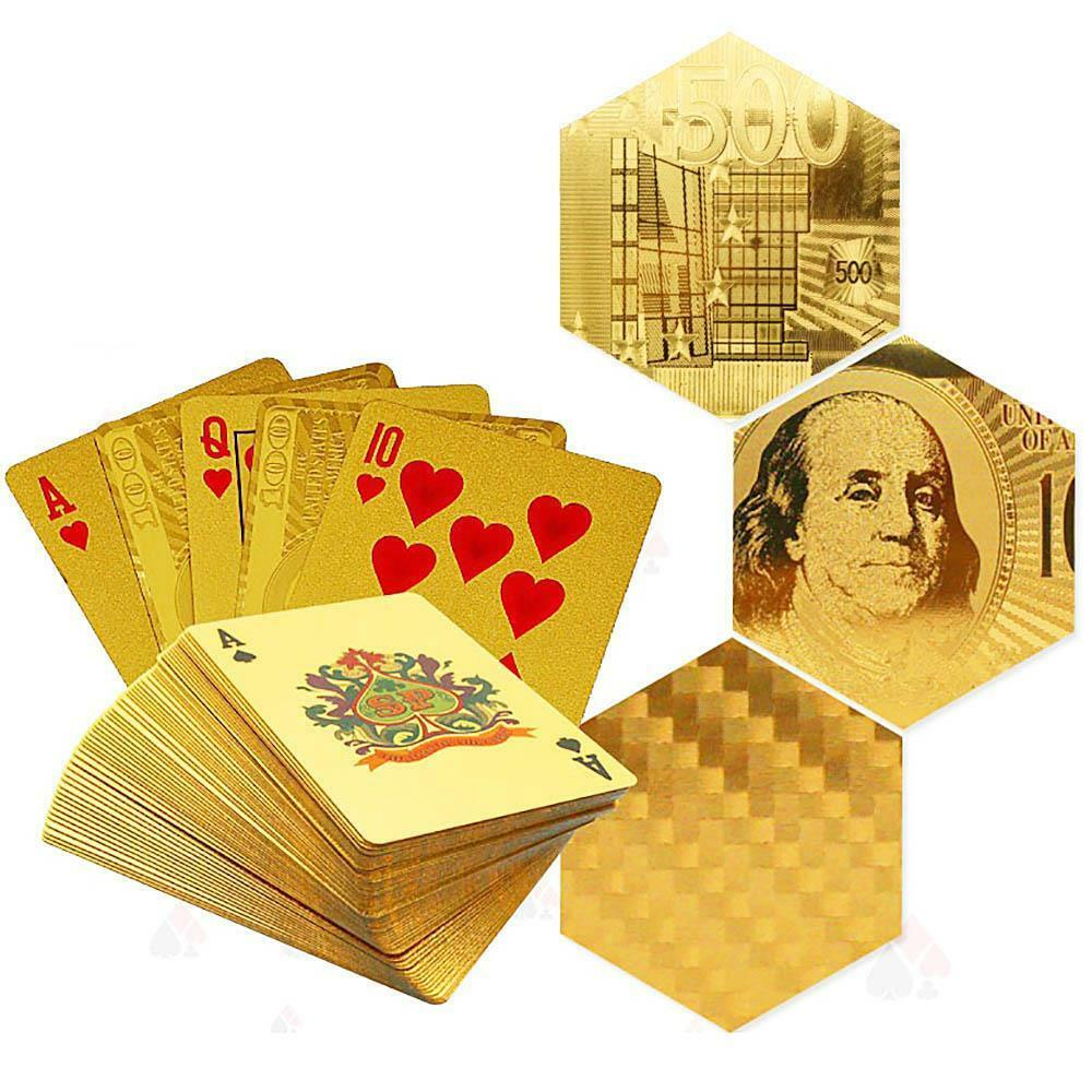 New Cool Flexible Gold Foil Plated Cover Poker 54 Playing