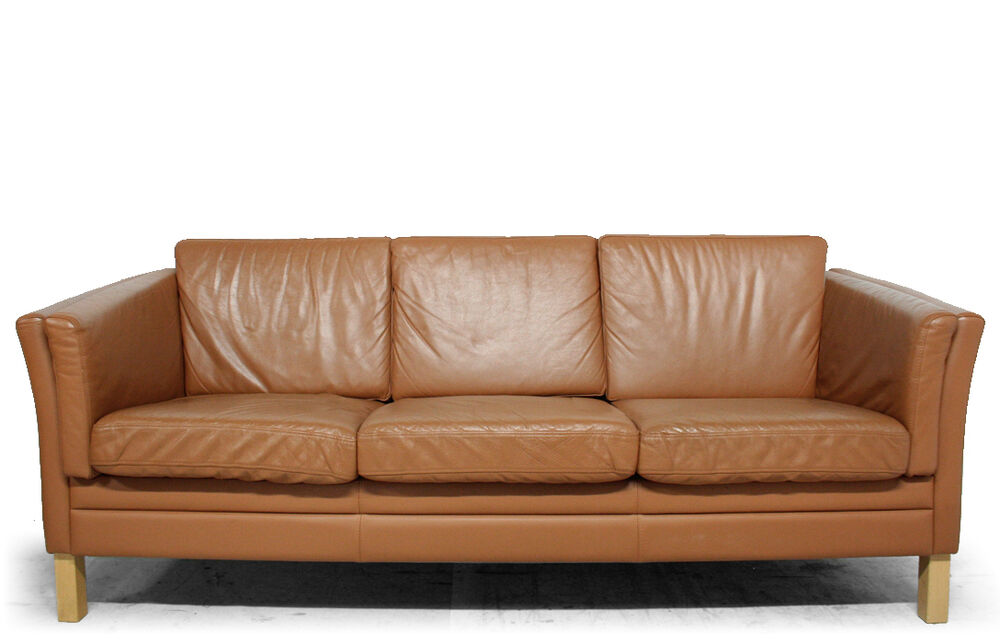 Retro Vintage DANISH MOGENSEN STYLE LEATHER 3 PERSON SOFA EBay