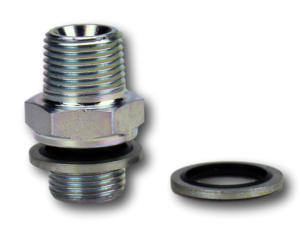 Hydraulic steel adapters male quot npt to bspp