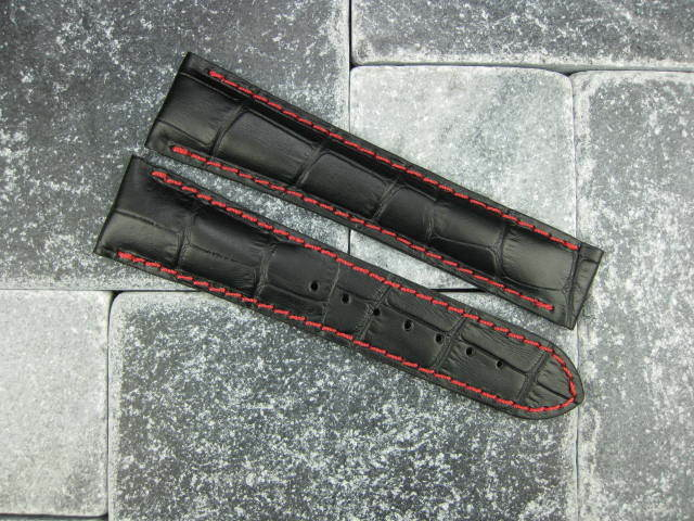 New Omega 20mm Black Leather Deployment Strap Red Stitch