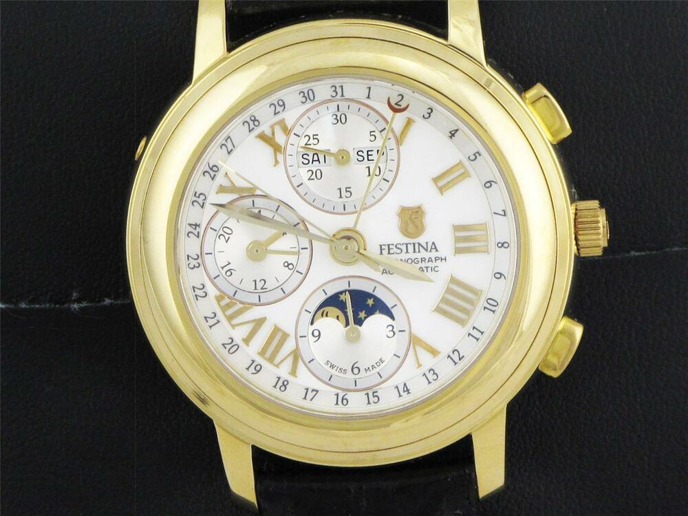 NEW VINTAGE MEN'S FESTINA MOON PHASE CHRONOGRAPH AUTOMATIC ...