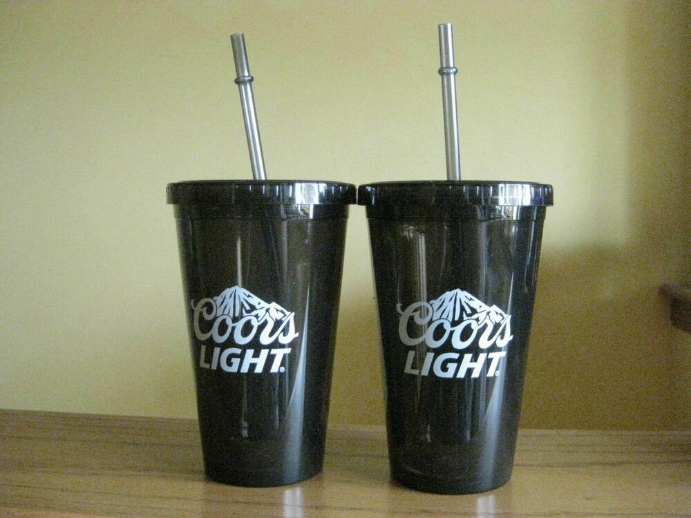 Coors Light Insulated Tumbler With Lid And Straw 16 Oz
