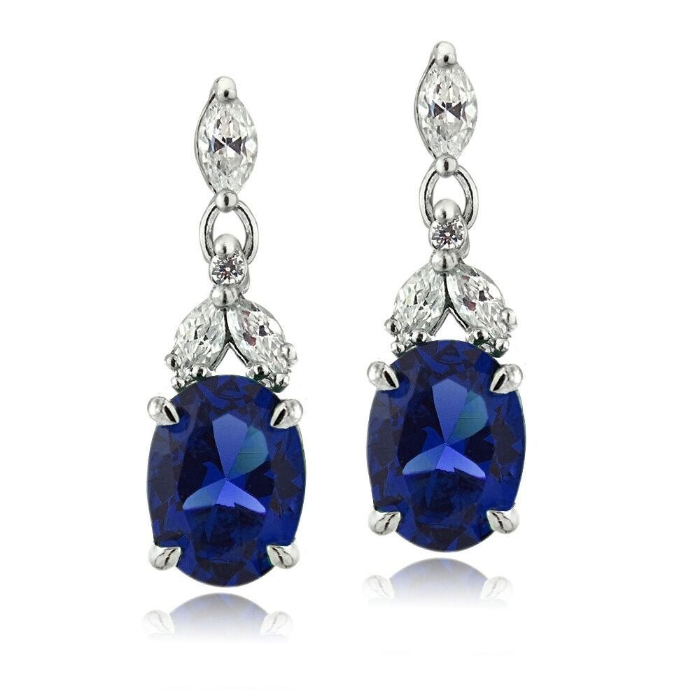 925 Silver Lab Created Blue Sapphire & CZ Oval Dangle ...