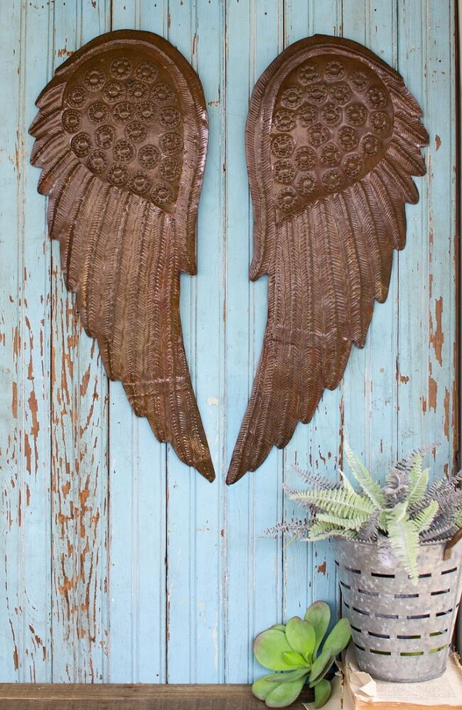 Hand hammered metal angel wings wall sculpture art decor for Angel wings wall decoration