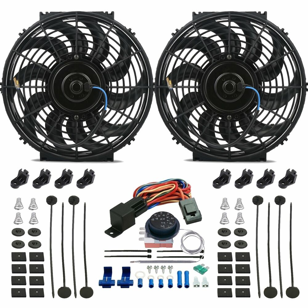 Double 12 Quot Inch Electric Radiator Fan S Adjustable Temp