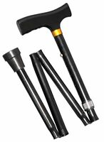 Walking assistant Stick Cane adjustable height foldable black with wooden handle