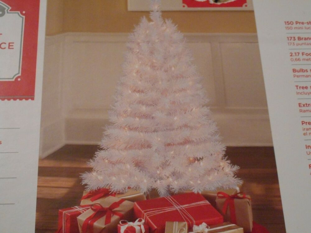 NEW 4 FT PRE LIT WHITE INDIANA SPRUCE CHRISTMAS TREE 173