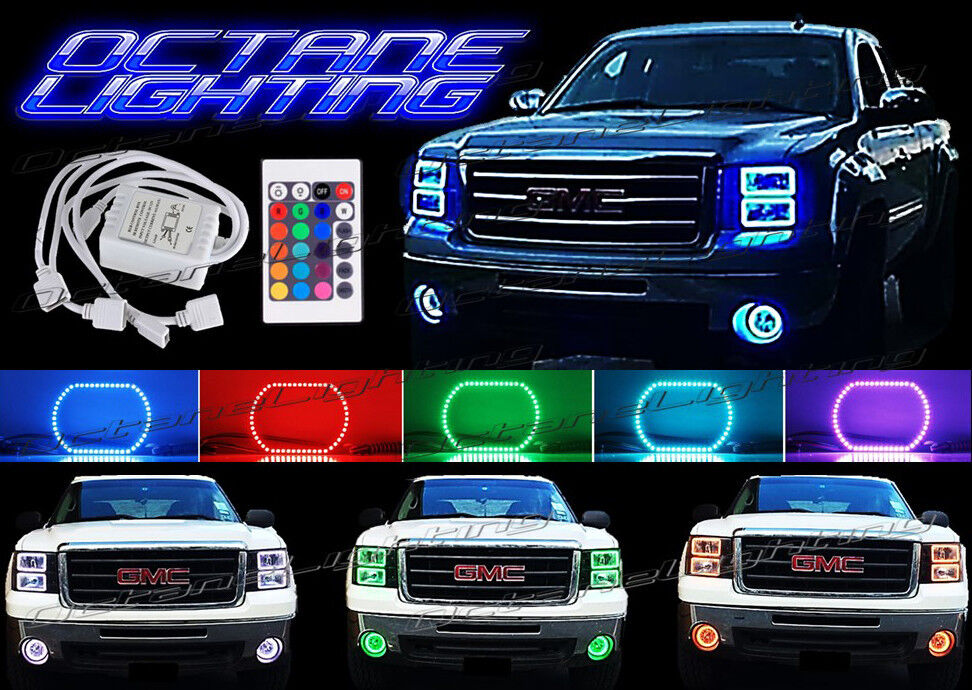 2016 Chevy Avalanche >> 2014-2016 GMC Sierra Truck Multi-Color Changing LED RGB Headlight Halo Ring Set | eBay