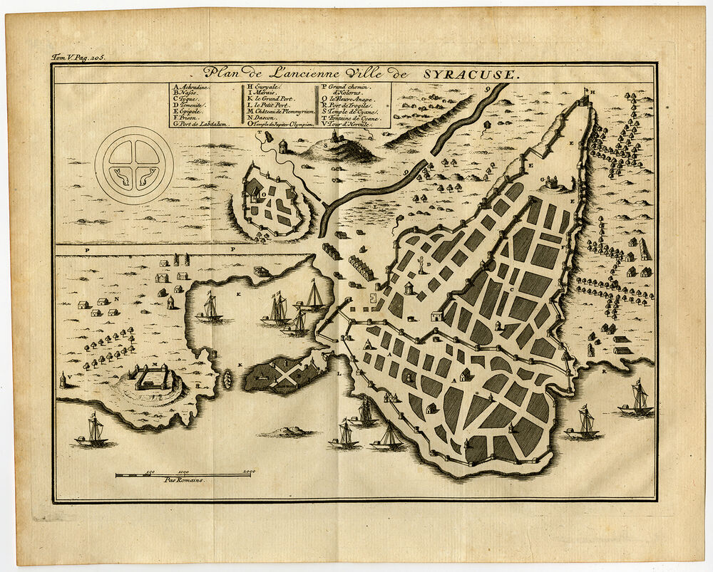 antique print syracuse plan sicily italy ships 1750 ebay ForPlan And Print Syracuse