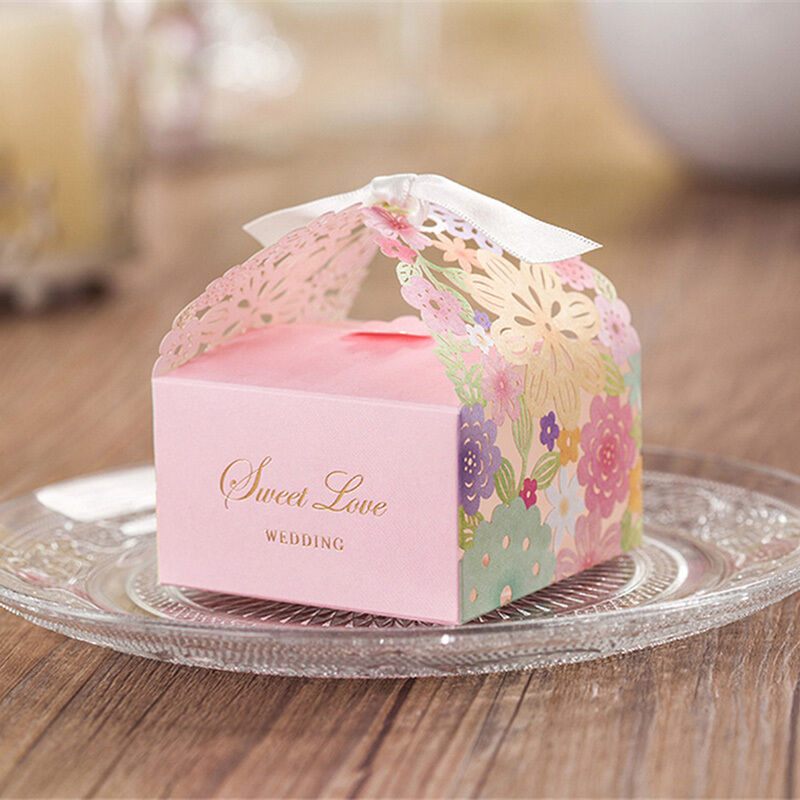 Gift Boxes For Weddings: 1/10/50/100Pcs Sweet Wedding Party Favor Paper Candy Gift