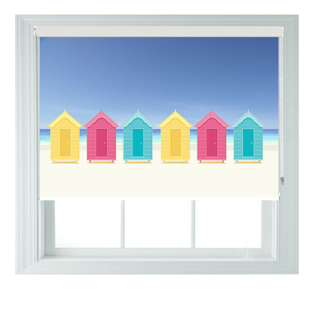 Beach Huts Themed Blackout Roller Blind For Kitchen